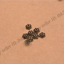100Pcs Tibetan Silver/Gold Metal Flower Loose Spacer Beads Caps Lots 6MM Z3012