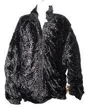 Judith Ann Creations, Inc. 1980s black quilted crushed velvet bomber jacket