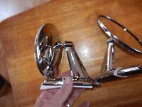 NOS VINTAGE CLASSIC UNIVERSAL CHROME  ROUND HEAD MUSCLE CAR SIDE MIRRORS
