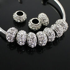 5pcs Clear Czech Crystal Big Hole Spacer Charm Beads 12mm Fit European Bracelet