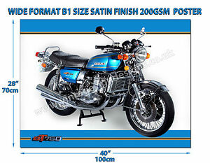 GT750 MOTORCYCLE WIDE FORMAT B1 SIZE SATIN FINISH 200GSM POSTER. MANCAVE POSTER
