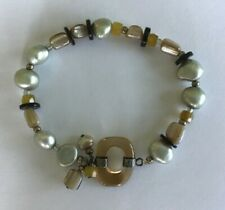 Artisan Freshwater Pearl and Bead Stretch Bracelet with 925 Features P8