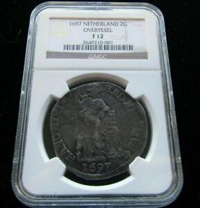 1697 Netherland 2 Gulden Overyssel Coin Certified NGC F 12