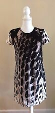SCANLAN & THEODORE UNIQUE ABSTRACT COTTON & SILK FITTED SHIFT DRESS~8/ SMALL~WOW