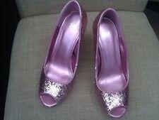 "H & M Pink Glitter sz. 5 Platform 4"" Heels Party Vegas Cruiseship"
