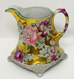"""Antique Nippon Moriage Pitcher 7"""" Royal Moriye, Heavy Relief, Hand Painted Roses"""