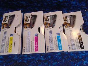4PK Genuine Brother TN336BK TN336C TN336Y TN336M Toner Cartridges Open Box