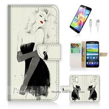 ( For Samsung S5 ) Wallet Case Cover! Girl in Black Dress P0001