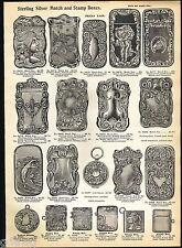 1904 ADVERT Silver Match Box Dragon Holder Safe Indian Stamp Horse Head