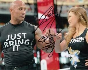 DWAYNE THE ROCK JOHNSON / RONDA ROUSEY WWE WWF Autographed Signed 8x10 REPRINT