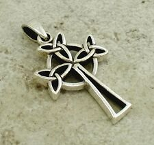 THICK .925 STERLING SILVER CELTIC TRINITY KNOT CROSS PENDANT  style# p0813