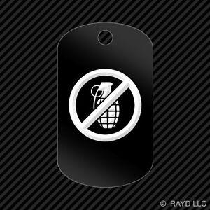 No Grenades Keychain GI dog tag engraved many colors  #2