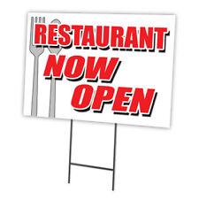 "Restaurant Now Open 18""x24"" Yard Sign & Stake outdoor plastic coroplast window"