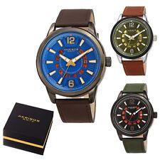 Men's Akribos XXIV AK1079 Quartz 3 Hand Exposed Wheel Date Leather Strap Watch
