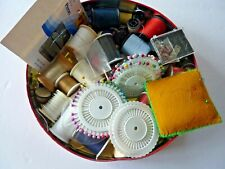 Lot Of Vintage Sewing Items Supplies Thread, Needles ,Buttons, Pin Cushion