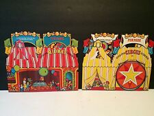 Two NEW 1983 FUNPARK Super Spin Circus Action Meal boxes Uncut Unused RARE Kids