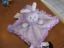 "BABY starters LOVEY BLANKET SATIN BLACK purple BUNNY RABBIT 11"" dots lavendar"
