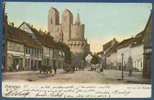 Prenzlau Blick von der Neustadt Pulverturm Geschäfte, gelaufen 1903 (AK3958)