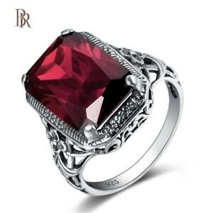 Genuine fine jewelry woman Square Vintage ring Sterling Silver 925 Red Ruby BR®