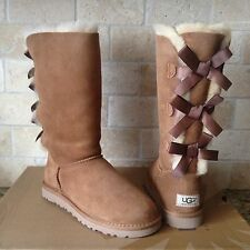 UGG Tall Triple Triplet Bailey Bow Chestnut Suede Sheepskin Boots Size 7 Womens