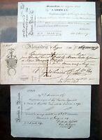1833 123) LOTTO 3 CAMBIALI IN ITALIANO DA ALESSANDRIA D'EGITTO A DOGANIERI ARABI