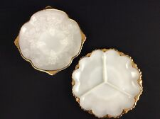 Set Of 2 Vintage Milk Glass Gold Trim Divided Server Bowl Grapes Harvest