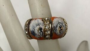 Hand painted Old English Sheepdog Stretch Ring, Orange Color