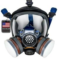 PD100 Full Face Gas Mask Respirator ASTM Cert. N95 Heavy Duty Filtration System