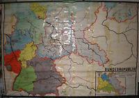 Schulwandkarte Deutschland dreigeteilt ~1962 228x153 vintage wall map chart card