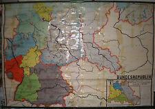 Schulwandkarte alemania tres dividido ~ 1962 228x153 vintage wall Map Chart Card