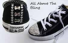 CONVERSE ALL STAR Black with SWAROVSKI CRYSTALS AND BOWS ON HEEL