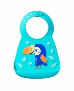 Nuby Baby Feeding Bib 3D Soft Silicone Food Catcher /  Easy Clean / Waterproof