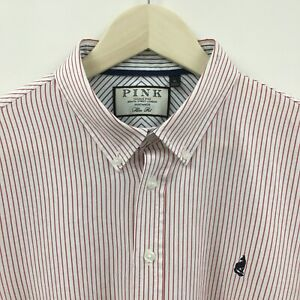 NEW Mens XL THOMAS PINK Slim Fit Striped Shirt London Wolf Embroidered  2c