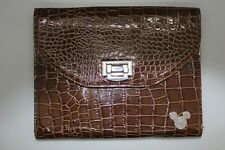 """Disney Parks Mickey Mouse iPad/tablet Case 10"""" Brown Faux Alligator Skin"""