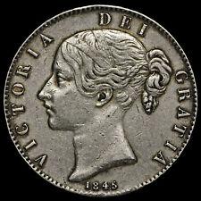 1845 Queen Victoria Young Head Silver Crown, Cinquefoil Stops, GVF
