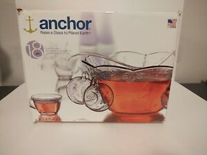 Anchor Hocking Savannah 18 pc Complete Punch Bowl Set Glassware Vintage USA