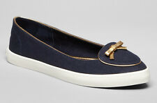 NEW TORY BURCH Dakota Bow Canvas Ballet Flats Sneakers Size 9 M Bright Navy/Gold