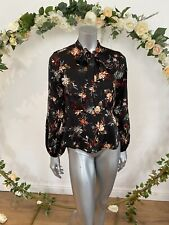 Atmosphere Blouse Top Floral Black Size 10,12,16 & 18 Tie Neck Long Sleeve GE68