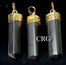 Gold Plated Plated Black Tourmaline 3-Sided Point Pendant (Pt11Dg)