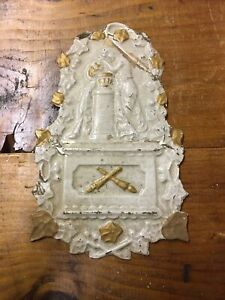 Antique Religeous Hand Painted Metal Plaque.  Weeping Angel?
