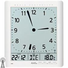 NEU AMS Wanduhr Funkuhr Funk digital Datum Thermometer Wecker Büro Praxis weiß