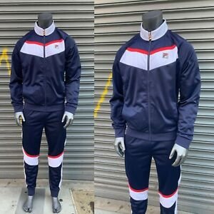 Men's Fila Navy | White | Red Full Zip Tracksuit