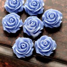 15pcs Blue Flatback Rose Flower Cameo Resin Cabochons Jewellery 14.5mm RB0739-18