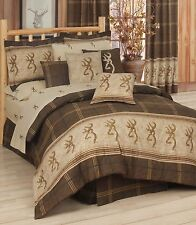 BROWNING -Brown & Tan Buckmark 4 Pc Queen Comforter Set -Hunting Deer Cabin Logo