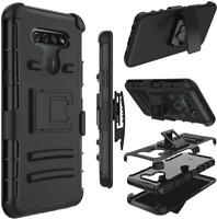 For LG K51/Q51/LG Reflect Armor Case Holster Belt Clip Black + Tempered Glass