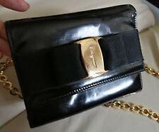 Ferragamo Patent Small Chain bag/ wallet on chain