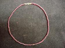 HALSKETTE AUS GRANAT PERLEN DUNKELROT 70s 42,5cm NECKLACE GARNET PEARLS DARK RED