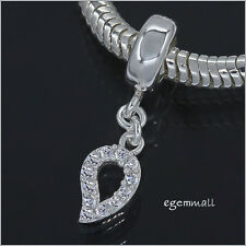 Sterling Silver CZ Leaf Charm Bead Fit European Bracelet #94124