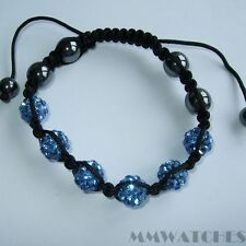 NEW DISCO BALL DEEP BLUE SHAMBALLA GLASS CRYSTAL BRACELET, GR8 GIFT! S01