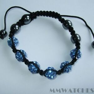 NEW DISCO BALL DEEP BLUE SHAMBALLA GLASS CRYSTAL BRACELET, GR8 GIFT! S01